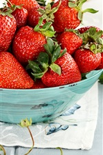 Preview iPhone wallpaper Ripe strawberry, fresh fruit, bowl, green leaves