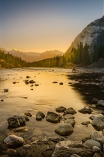 Preview iPhone wallpaper River, dawn, stones, mountains, trees