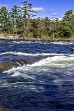 iPhone fondos de pantalla Río, olas, árboles, naturaleza
