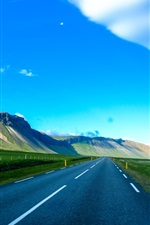 Road, mountains, blue sky, white clouds
