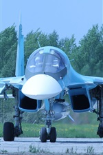 Preview iPhone wallpaper Russian bomber, Su-34 fighter front view