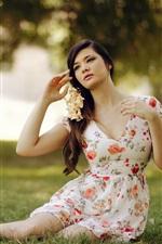 Sadness girl, skirt, grass, summer