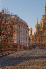 Saint Petersburg, Russia, bridge, church, trees