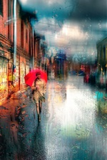 Preview iPhone wallpaper Saint Petersburg, girl, umbrella, rainy day, dream style