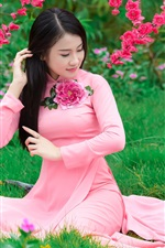 Preview iPhone wallpaper Sakura flowering, beautiful chinese girl, pink dress