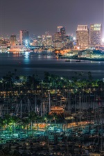 Preview iPhone wallpaper San Diego, United States, docker, buildings, lights, night, bay
