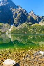 Preview iPhone wallpaper Sea Eye Lake, mountains, trees, Poland, Tatra National Park