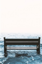 Preview iPhone wallpaper Sea, bench, waves