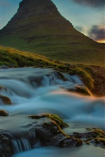 Preview iPhone wallpaper Sea, mountain, sun rays, waterfall, dawn, stones