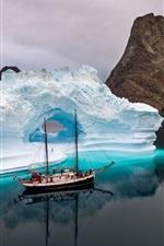 Preview iPhone wallpaper Sea, ship, ice, iceberg, winter