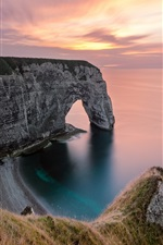 Preview iPhone wallpaper Sea, shore, coast, cliff, arch, sunset