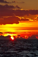 Preview iPhone wallpaper Sea, sunset, clouds, red sky