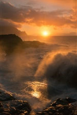 Preview iPhone wallpaper Sea, sunset, water splash, waves