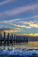 iPhone壁紙のプレビュー 海、波、橋、桟橋、空、雲