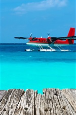 Preview iPhone wallpaper Seaplane, sea, wood board, blue