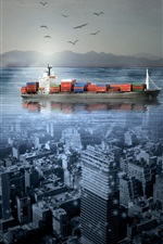 Preview iPhone wallpaper Ship, city, sea, creative picture