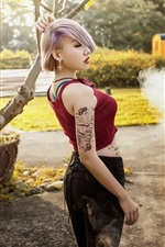 Preview iPhone wallpaper Short hair Asian girl, tattoo