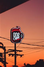 Preview iPhone wallpaper Signboard, coffee cafeteria, night, city