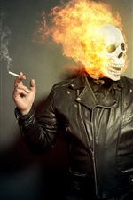 Preview iPhone wallpaper Skull, fire, people, cigarette, creative picture