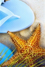 Preview iPhone wallpaper Slippers, starfish, hat, sunglasses, beach, summer