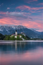 Preview iPhone wallpaper Slovenia, Lake Bled, The Julian Alps, island, church, mountains, dusk
