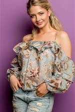 Smile blonde girl, cute, summer dress