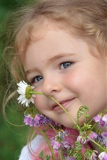 Preview iPhone wallpaper Smile child girl, flowers