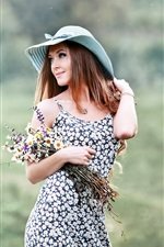 Preview iPhone wallpaper Smile girl, hat, flowers