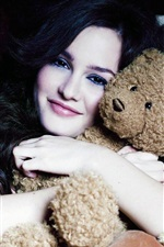 Preview iPhone wallpaper Smile girl hugging teddy bear