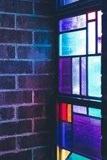 Preview iPhone wallpaper Stained glass, colorful, window, wall