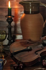 Preview iPhone wallpaper Still life, bottle, books, spoon, violin, candle, cherry