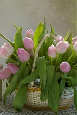 Preview iPhone wallpaper Still life, pink tulips, gift, cup