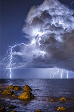 Preview iPhone wallpaper Storm, lightning, sea, stones