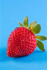 Preview iPhone wallpaper Strawberry, blue background