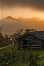 Preview iPhone wallpaper Sunrise, alpine, trees, house, clouds, fog