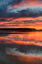 Sunset, sea, sky, clouds, dusk