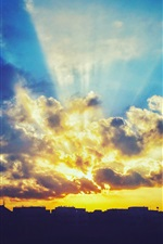 Preview iPhone wallpaper Sunset, sky, clouds, glare