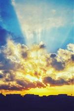Sunset, sky, clouds, glare