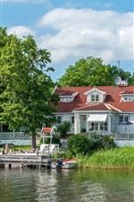Suécia, barcos, juncos, árvores, casa, cais, rio