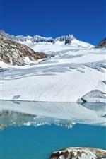 Preview iPhone wallpaper Switzerland, Alps, lake, snow, winter