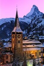 iPhone fondos de pantalla Suiza, Zermatt, Alpes suizos, montañas, nieve, casas, noche, luces