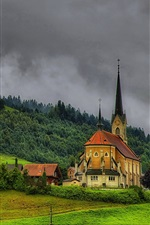 Switzerland, church, village, hills, trees, clouds, dusk