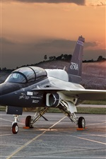 Preview iPhone wallpaper T-50A plane at airport, dawn, Lockheed Martin