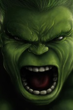 Preview iPhone wallpaper The Hulk, face, Marvel Comics, art picture