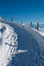 Preview iPhone wallpaper Thick snow, track, road, clouds, winter