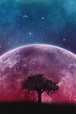 Preview iPhone wallpaper Tree, grass, purple planet, starry