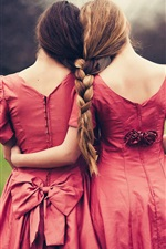 Preview iPhone wallpaper Two girls, joy, braids, back view