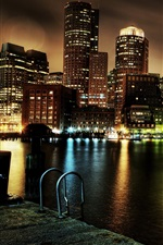 Preview iPhone wallpaper USA, Boston, Massachusetts, skyscrapers, pier, night, lights, river