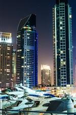 United Arab Emirates, Dubai, skyscrapers, night, lights