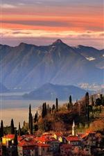 Preview iPhone wallpaper Varenna, Como Lake, Samoa, Italy, mountains, houses, trees